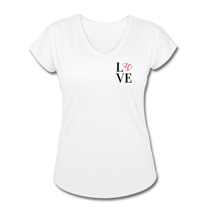 Love SC Baseball Women's Tri-Blend V-Neck T-Shirt - white