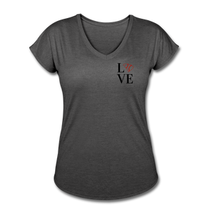 Love SC Baseball Women's Tri-Blend V-Neck T-Shirt - deep heather