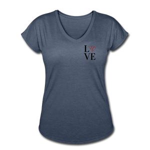 Love SC Baseball Women's Tri-Blend V-Neck T-Shirt - navy heather