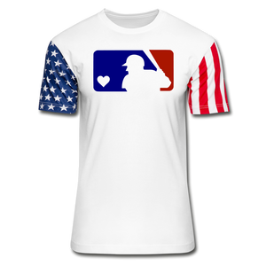 Love Baseball Unisex Stars & Stripes T-Shirt - white