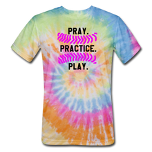 Load image into Gallery viewer, Pray. Practice. Play. Unisex Tie Dye T-Shirt - rainbow