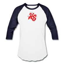 Load image into Gallery viewer, HotShots Logo Baseball T-Shirt - white/navy