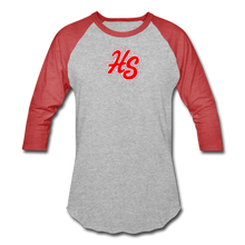 Load image into Gallery viewer, HotShots Logo Baseball T-Shirt - heather gray/red