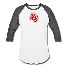 Load image into Gallery viewer, HotShots Logo Baseball T-Shirt - white/charcoal