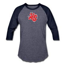 Load image into Gallery viewer, HotShots Logo Baseball T-Shirt - heather blue/navy