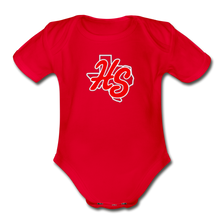 Load image into Gallery viewer, HotShots Logo Organic Short Sleeve Baby Bodysuit - red