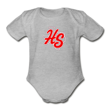 Load image into Gallery viewer, HotShots Logo Organic Short Sleeve Baby Bodysuit - heather gray