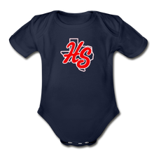 Load image into Gallery viewer, HotShots Logo Organic Short Sleeve Baby Bodysuit - dark navy