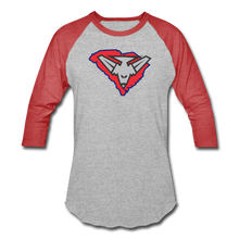 Load image into Gallery viewer, East Coast Bombers Logo Baseball T-Shirt - heather gray/red