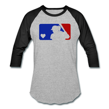 Load image into Gallery viewer, Love Softball Color Block Tee - heather gray/black