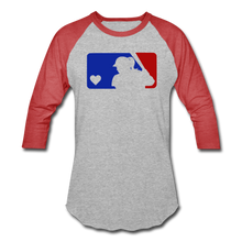 Load image into Gallery viewer, Love Softball Color Block Tee - heather gray/red