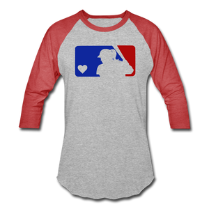 Love Softball Color Block Tee - heather gray/red