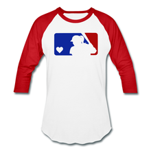 Load image into Gallery viewer, Love Softball Color Block Tee - white/red