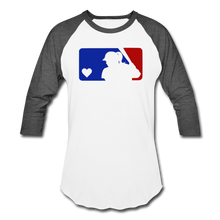 Load image into Gallery viewer, Love Softball Color Block Tee - white/charcoal