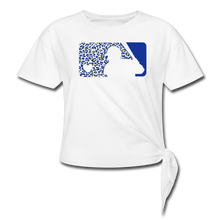 Load image into Gallery viewer, Crew Love Baseball Custom Leopard Women's Knotted T-Shirt-Customize Me! - white