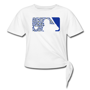 Crew Love Baseball Custom Leopard Women's Knotted T-Shirt-Customize Me! - white