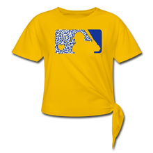 Load image into Gallery viewer, Crew Love Baseball Custom Leopard Women's Knotted T-Shirt-Customize Me! - sun yellow