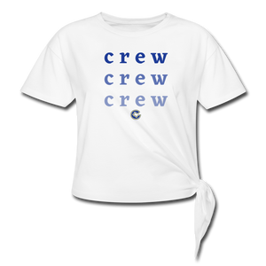 Crew Ombre Women's Knotted T-Shirt- Customize Me! - white