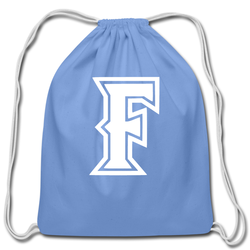 Friendswood Baseball Logo Cotton Drawstring Bag- Customize Me! - carolina blue
