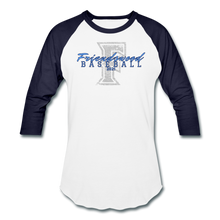 Load image into Gallery viewer, Friendswood Distressed Logo Baseball T-Shirt-Customize me! - white/navy