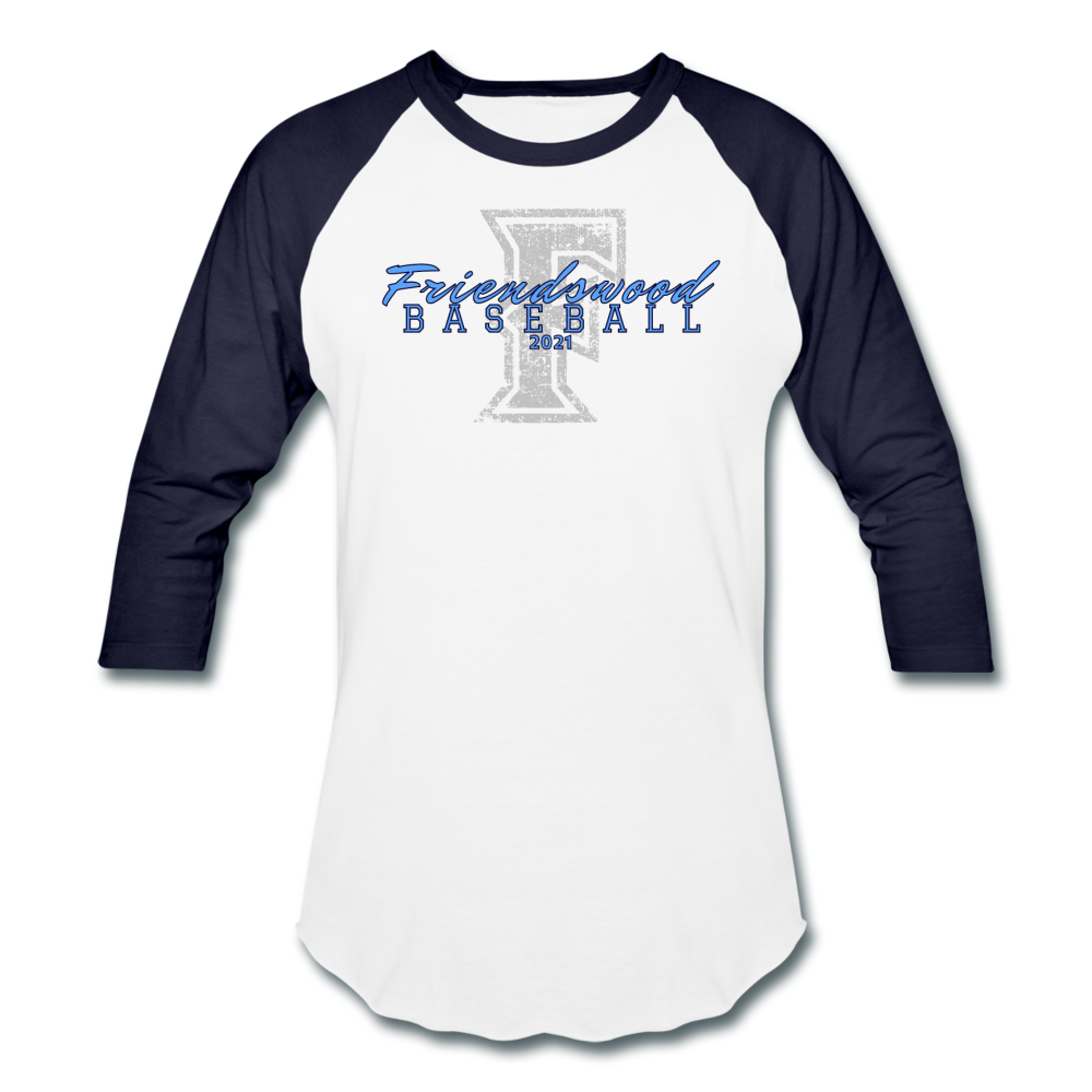 Friendswood Distressed Logo Baseball T-Shirt-Customize me! - white/navy