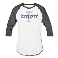 Load image into Gallery viewer, Friendswood Distressed Logo Baseball T-Shirt-Customize me! - white/charcoal