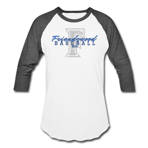 Friendswood Distressed Logo Baseball T-Shirt-Customize me! - white/charcoal