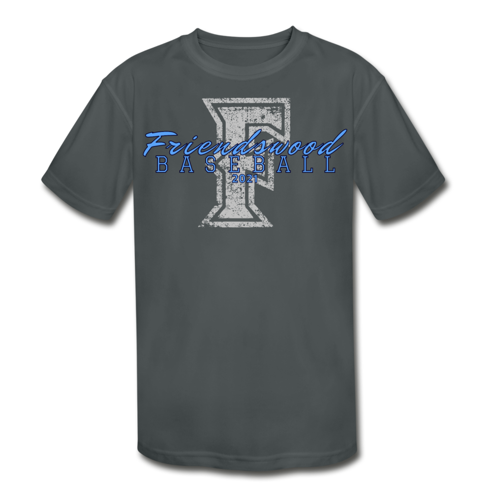 Friendswood Distressed Logo Youth Dri-Fit-Customize Me! - charcoal