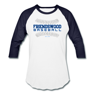 Friendswood Baseball Seams Baseball T-Shirt-Customize Me! - white/navy