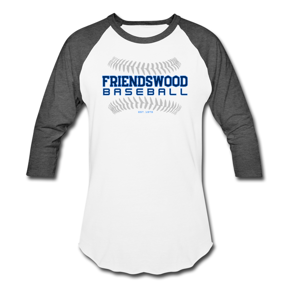 Friendswood Baseball Seams Baseball T-Shirt-Customize Me! - white/charcoal