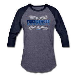 Friendswood Baseball Seams Baseball T-Shirt-Customize Me! - heather blue/navy