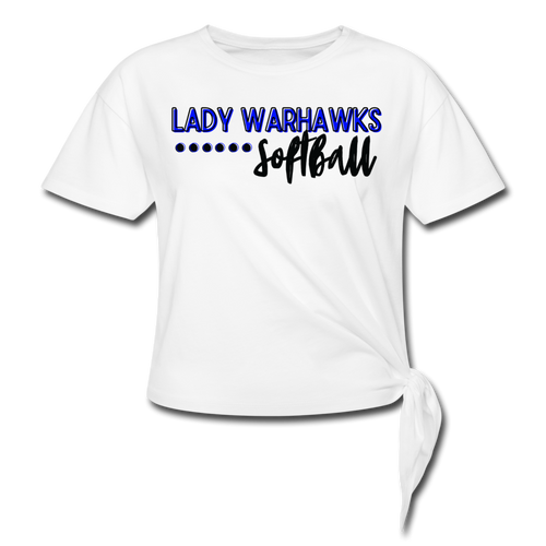 Lady Warhawks Softball Script Women's Knotted T-Shirt - white