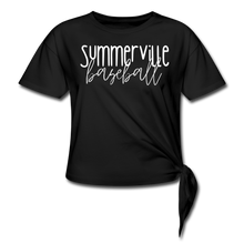 Load image into Gallery viewer, Summerville Thin Script Women's Knotted T-Shirt - black