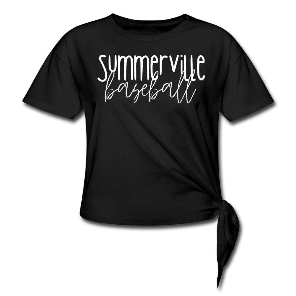 Summerville Thin Script Women's Knotted T-Shirt - black