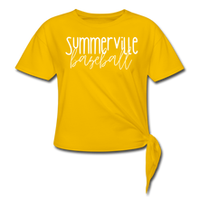 Load image into Gallery viewer, Summerville Thin Script Women's Knotted T-Shirt - sun yellow
