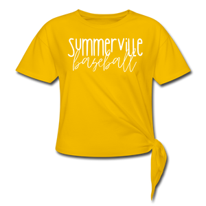 Summerville Thin Script Women's Knotted T-Shirt - sun yellow