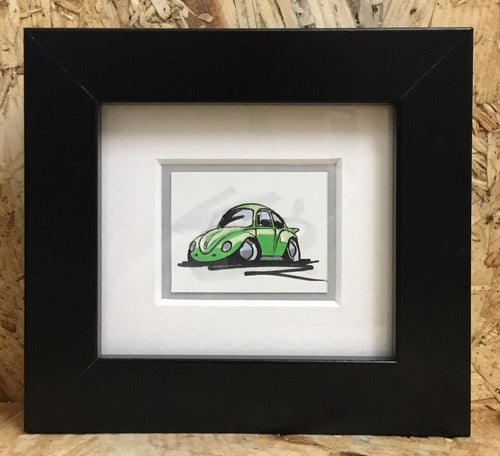Beetle (038) - Miniature Framed Sketch