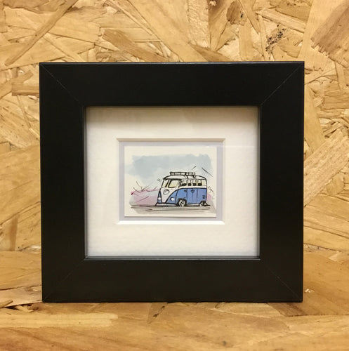 Splitty Camper Van (060) - Miniature Framed Sketch