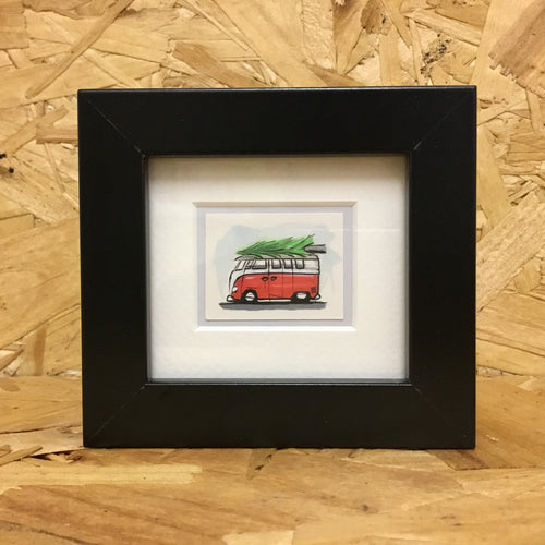 Christmas Camper Van (064) - Framed Miniature Art Sketch