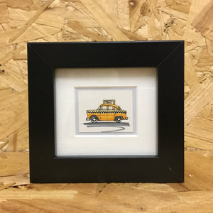 Yellow Taxi Cab (067) - Miniature Framed Sketch