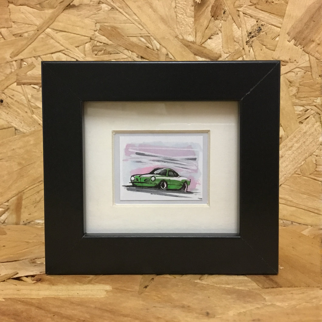 Karmann Ghia (069) - Miniature Framed Sketch