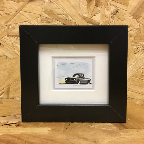 Caddy Pick-Up (070) - Miniature Framed Sketch