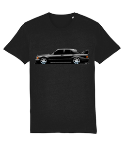 Mercedes 190E Cosworth Evolution II (Black) - Car Art T-shirt