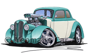 Plymouth Coupe (1936) (Yeo-A) - Caricature Car Art Print