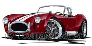 AC Cobra (with Stripes) - Caricature Car Art Print