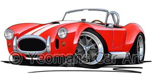 AC Cobra (with Stripes) - Caricature Car Art Coffee Mug