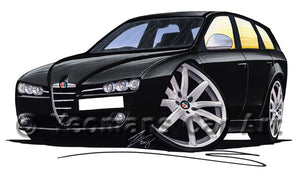 Alfa Romeo 159 Sportwagon - Caricature Car Art Print