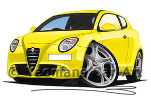 Alfa Romeo MiTo - Caricature Car Art Print