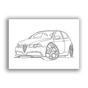 Alfa Romeo 147 GTA - Free Colouring Sheet
