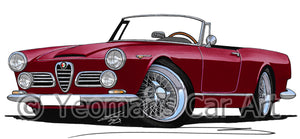 Alfa Romeo 2600 Spider - Caricature Car Art Print
